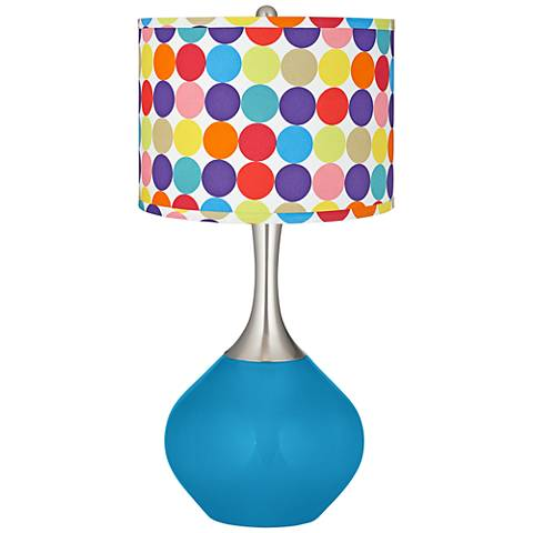 River Blue Multi-Color Circles Shade Spencer Table Lamp