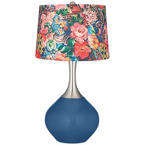 Regatta Blue Floral Digital Print Shade Spencer Table Lamp