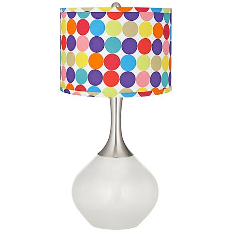 Winter White Multi-Color Circles Shade Spencer Table Lamp
