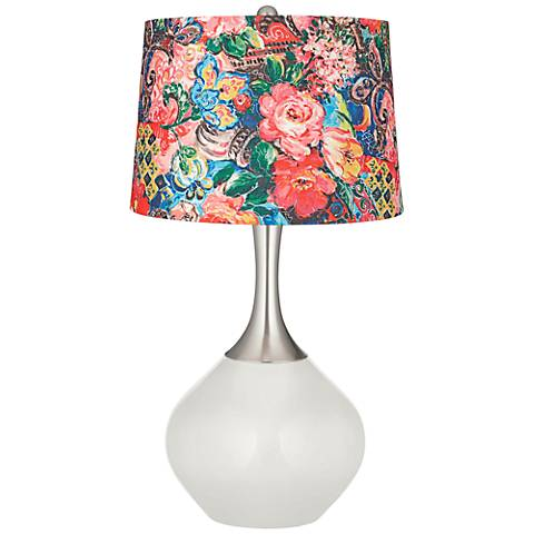 Winter White Floral Digital Print Shade Spencer Table Lamp