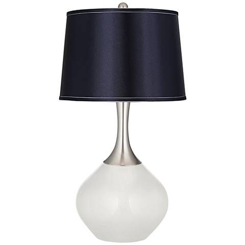 Winter White Satin Navy Shade Spencer Table Lamp