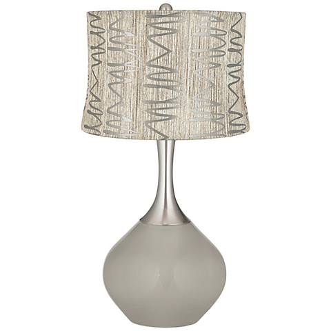 Requisite Gray Abstract Squiggles Shade Spencer Table Lamp