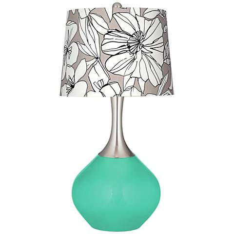 Turquoise Graphic Floral Shade Spencer Table Lamp