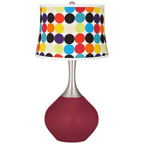 Antique Red Multi Mod Circles Shade Spencer Table Lamp
