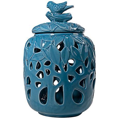 Syre Blue Bird Decorative Small Ceramic Jar