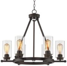 "Holman Bronze 6-Light 26 3/4"" Wide Industrial Chandelier"