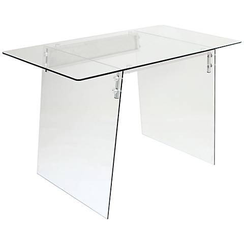Glacier Glass Clear Tempered Metal Modern Office Desk
