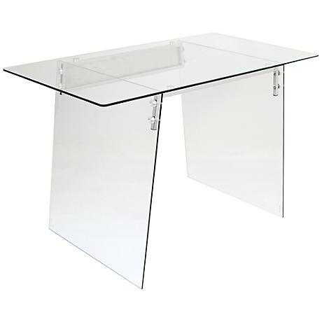 glacier glass clear tempered metal modern office desk