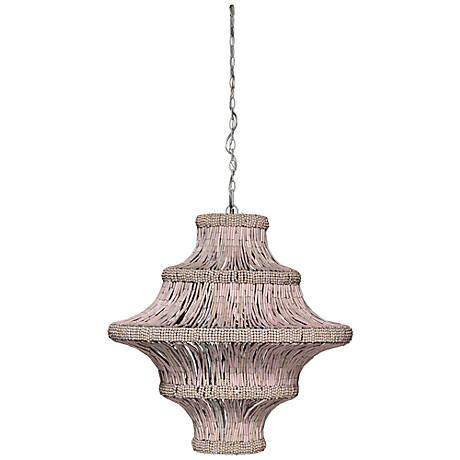 """Jamie Young Whisper 29""""W Blush Wood Pendant Chandelier"""