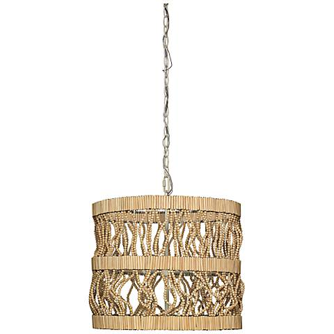"Jamie Young Tropos 19"" Wide Natural Wood Pendant"