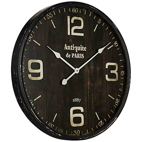"Cooper Classics Jedrak Aged Black 23 3/4"" Round Wall Clock"