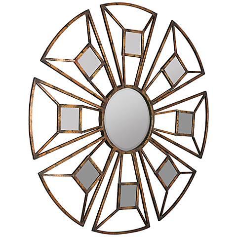 "Cooper Classics Nena Aged Bronze 27 3/4"" Round Accent Mirror"