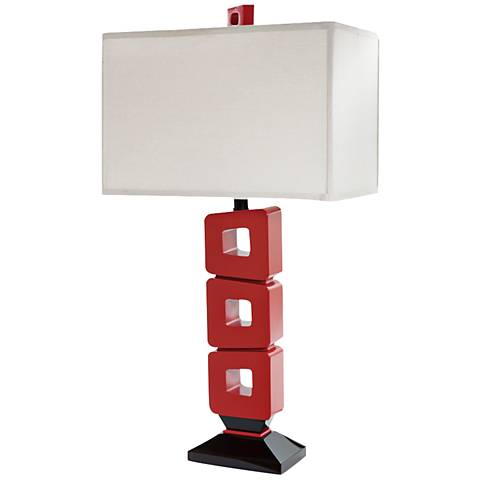 Lounge Life Open Square Red Table Lamp