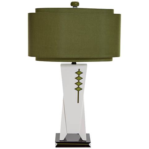 High Roller Off-White and Olive Green Modern Table Lamp