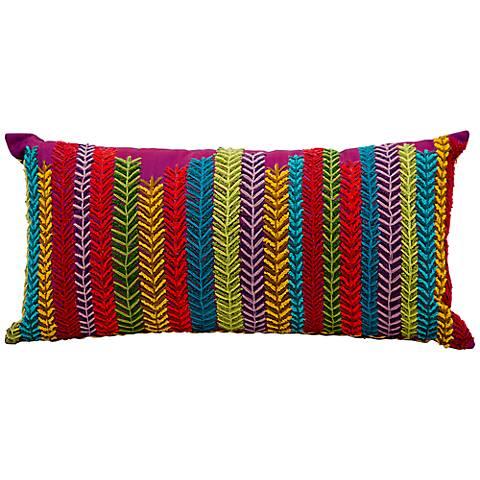 """Mina Victory Fantasia Purple 20"""" x 10"""" Lumbar Pillow"""