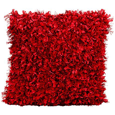 """Mina Victory Red Shag 20"""" Square Throw Pillow"""