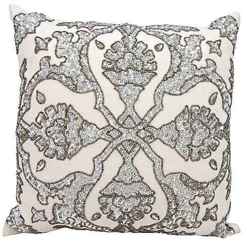 "Mina Victory Luminescence Rhinestone 16"" Square Pillow"
