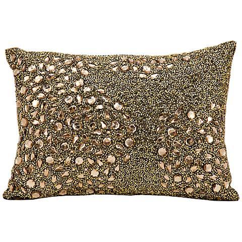 """Mina Victory Luminescence Amber 14"""" x 10"""" Beaded Pillow"""