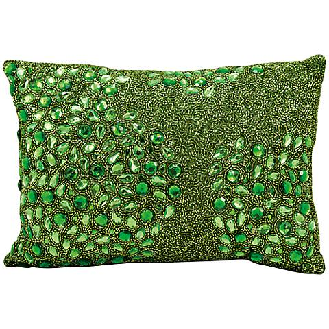 "Mina Victory Luminescence Green 14"" x 10"" Beaded Pillow"