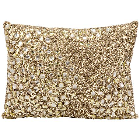 "Mina Victory Luminescence Beige 14"" x 10"" Beaded Pillow"