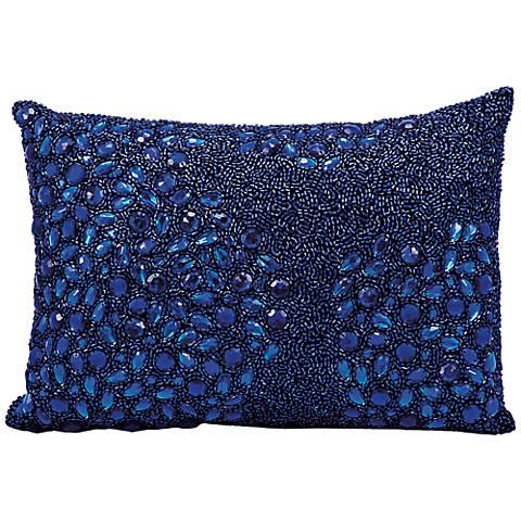 """Mina Victory Luminescence Navy Blue 14"""" x 10"""" Pillow"""
