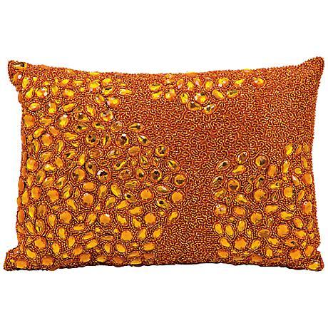 "Mina Victory Luminescence Orange 14"" x 10"" Lumbar Pillow"