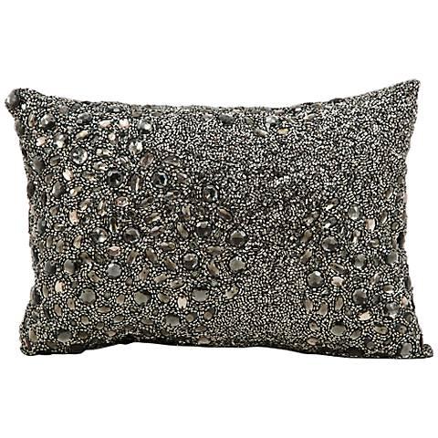 "Mina Victory Luminescence Pewter Gray 14"" x 10"" Pillow"