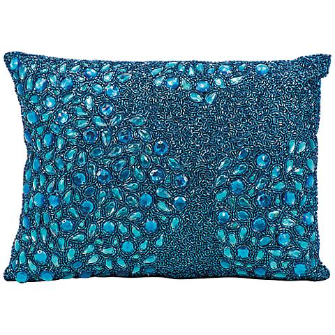 "Mina Victory Luminescence Turquoise Blue 14"" x 10"" Pillow"