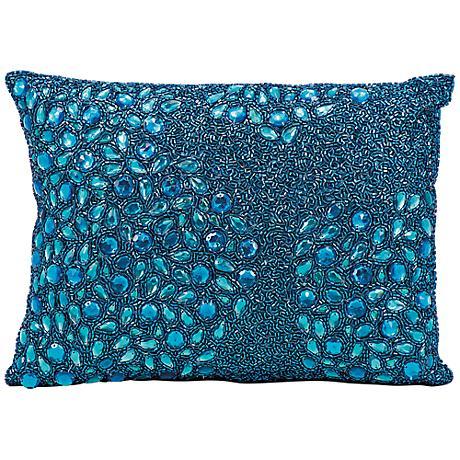 "Mina Victory Luminescence Turquoise Blue 14"" x 10"" Pillow"