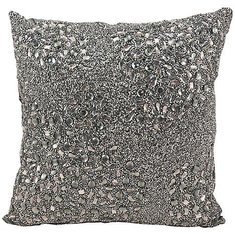 "Mina Victory Luminescence Pewter Gray 16"" Square Pillow"