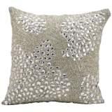"Mina Victory Luminescence Silver 16"" Square Beaded Pillow"