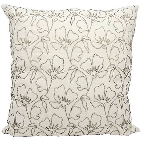 "Mina Victory Luminescence Silver 20"" Square Floral Pillow"