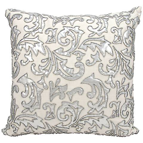 "Mina Victory Luminescence Silver 20"" Square Throw Pillow"