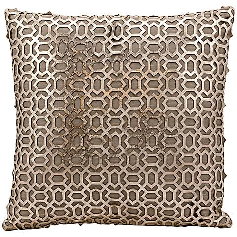 "Mina Victory Laser-Cut Gold 18"" Square Leather Throw Pillow"