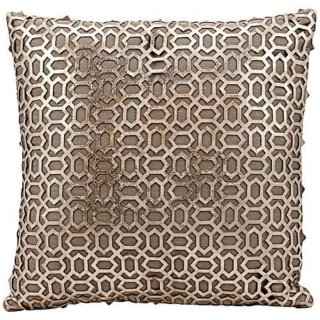 """Mina Victory Laser-Cut Gold 18"""" Square Leather Throw Pillow"""