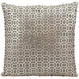 "Mina Victory Laser-Cut Silver 18"" Square Leather Pillow"