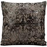 "Mina Victory Laser-Cut Foil 16"" Square Platinum Pillow"