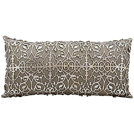 "Mina Victory Laser-Cut Silver 24"" x 12"" Beige Pillow"