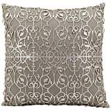 "Mina Victory Laser-Cut Silver Floral 18"" Square Pillow"
