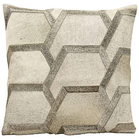 "Mina Victory Gray Hexagon 20"" Square Natural Hide Pillow"