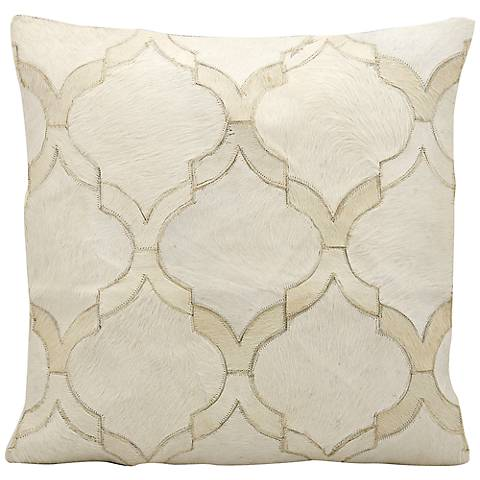 "Mina Victory White Natural Hide 20"" Square Throw Pillow"