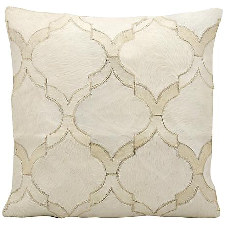 """Mina Victory White Natural Hide 20"""" Square Throw Pillow"""