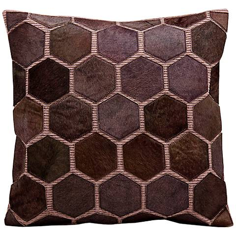 "Mina Victory Lilac Natural Hide 20"" Square Leather Pillow"