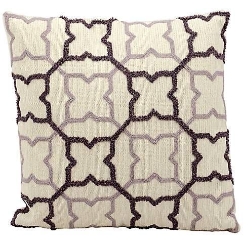 "Mina Victory Life Styles Suede 18"" Square Ivory Pillow"