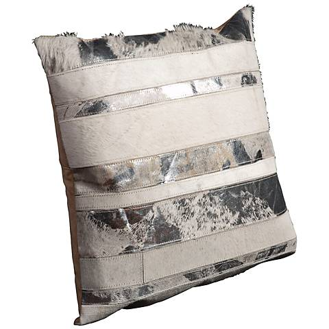"Mina Victory White Natural Hide 20"" Square Leather Pillow"