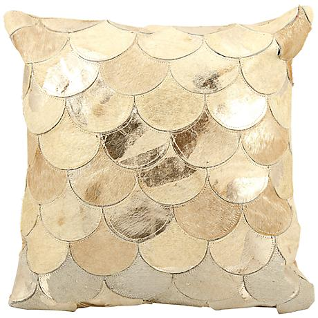 "Mina Victory Gold Scale 20"" Square Leather Pillow"