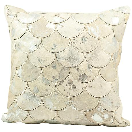 "Mina Victory Silver Scale 20"" Square Leather Pillow"