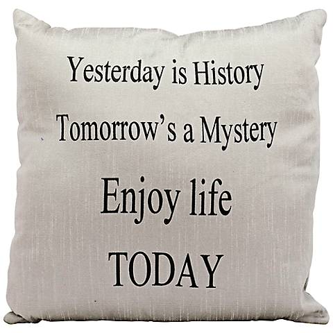 "Mina Victory Life Styles Enjoy 18"" Square Silver Pillow"