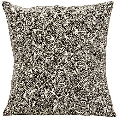 "Mina Victory Luminescence Diamond 16"" Square Silver Pillow"