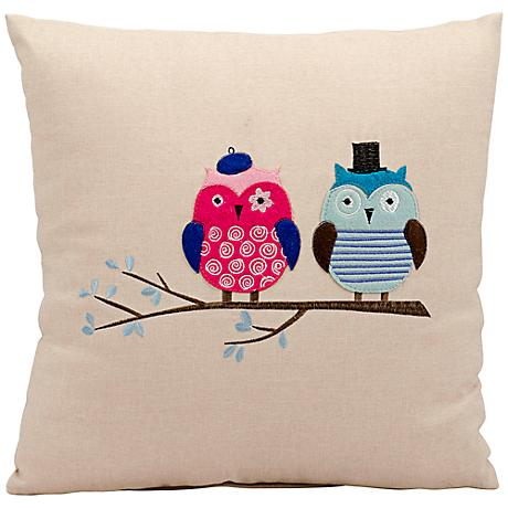 """Mina Victory Life Styles Double Owl 18"""" Square Beige Pillow"""